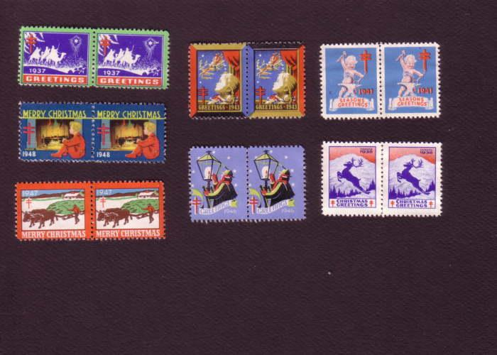 Set of Seven Different Horizontal Pairs of Christmas Seals, 1937, 38, 41, 43,...