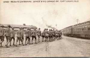 Colorado Fort Logan Recruits Entraining Denver & Rio Grande Railroad
