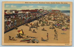 Postcard NJ Seaside Heights Beach From Freeman's Amusement Center c1940s W10