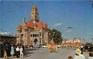 Decatur Texas~Sheriffs Posse Rodeo Parade~Wise County Court House~1950s Postcard