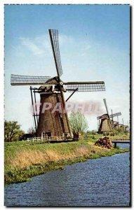 Old Postcard Netherlands Hollandse Molen Windmill Moulon