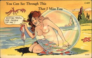 Topless Bathing Beauty Behind Bubble RISQUE LINEN Old Postcard