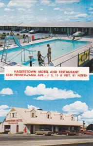HAGERSTOWN , Maryland , PU-1974 ; Haggerstown Motel/ split views; Swimming Pool