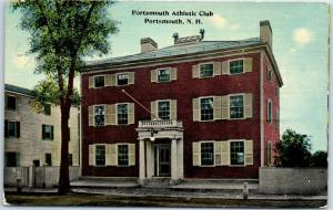 Portsmouth, New Hampshire Postcard Athletic Club Building / Street View c1910s