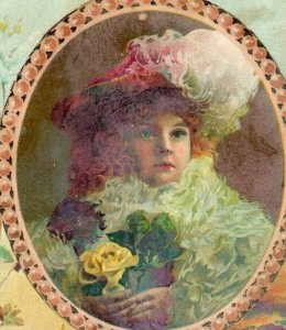 1891 Easter Lion Coffee Woolson Spice Co. Lamb Adorable Child Fab! *D