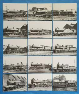 Complete Set of 15 Scottish Vintage Steam Train Loco Postcards, LMS, LNER 12S