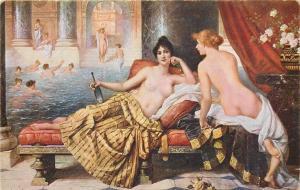 Vintage art postcard nude in painting C. Schweninger - Intimate ladies