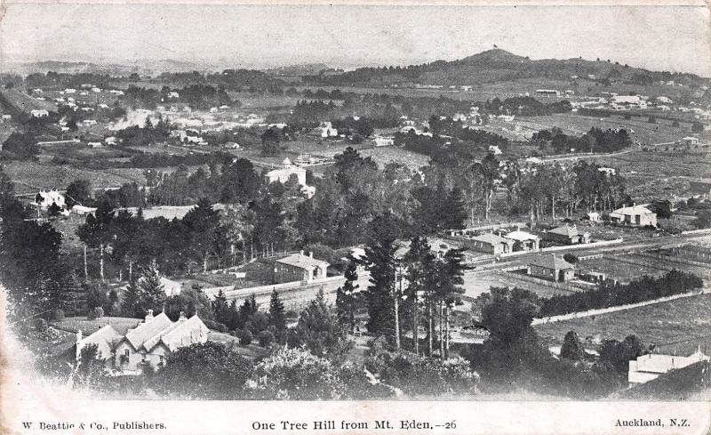 One tree Hill from Mt. Eden, New Zealand, Early Postcard, Unused