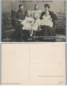 Antico Tedesca RPPC Vero Foto Cartolina Duke Ernest II W/Famiglia