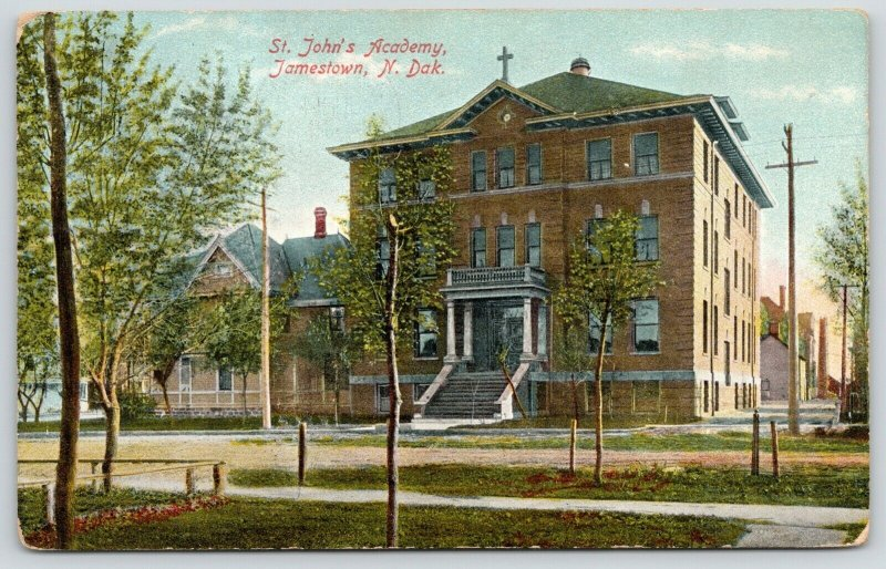 Jamestown ND~Skinny Trees Starting to Bud in Spring @ St John's Academy~c1910