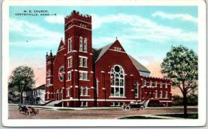 Coffeyville, Kansas Postcard M.E. CHURCH Building View - Kropp Linen Unused