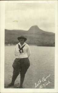 Young Woman Kerchief & Hat Girl Scout? Salt River 1922 Real Photo Postcard