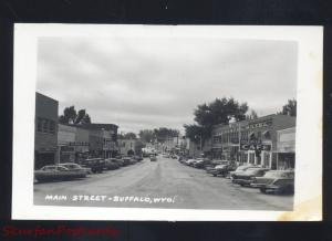 RPPC BUFFALO WYOMING DOWNTOWN MAIN STREET SCENE CARS REAL PHOTO POSTCARD