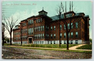 Kalamazoo Michigan~Vine Street School~View from Across Street~Bare Trees~1910