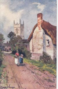 Artist JOTTER , A Cornish Village , England , PU-1904 : TUCK 1720 series
