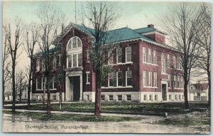 Morenci, Michigan Postcard THE HIGH SCHOOL Building View Hand-Colored - 1909