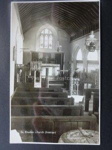 Cornwall ST ENODOC CHURCH (Interior) Trebetherick Old RP Postcard by F A Maycock