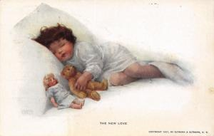 Bessie Pease Gutmann~The New Love~Toddler Girl Sleeps With Teddy Bear~Doll~1907