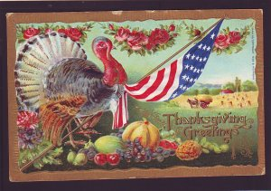 P1609 old patriotic american flag, turkey thanksgiving view postcard