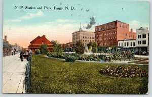Fargo North Dakota~NP Northern Pacific Railroad Station~Depot Park~Stores~1914