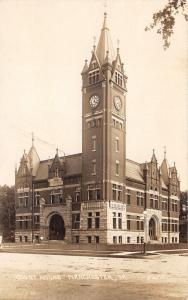 Manchester Iowa~Court House~Beautiful Clock Tower~Bicycles @ Entrance~c1910 RPPC