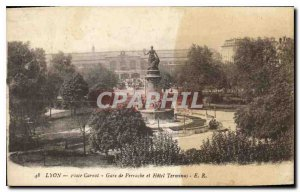 Old Postcard Lyon Place Carnot and Perrache hotel Terminaus