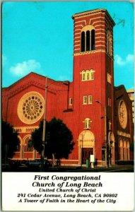 Long Beach, California Postcard FIRST CONGREGATIONAL CHURCH 241 Cedar Ave 1960s