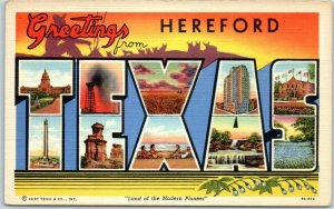 1940s HEREFORD, TEXAS Large Letter Postcard Multi-View Curteich Linen Unused