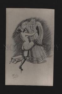 078229 NUDE Woman DANCER Vase by FREDILLO old ART NOUVEAU