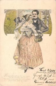 US2704 Couple Man with Moustaches, Woman Dress 1904 germany love embossed