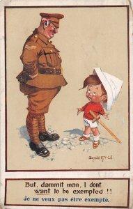 F92/ Artist Signed Postcard c1910 D McGill Comic Military Child Sword 14