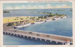 Florida Yachts Moored Along Miami and Miami Beach Causeway 1936 Curteich
