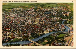 Vtg 1950s Aerial View of WIlmington Delaware DE Linen Postcard