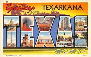 Post Card Old Vintage Antique Greetings from Texarkana Texas, USA Unused