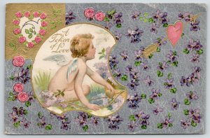 Valentine~Cupid with Bow in Lilacs~Pink Rose Heart~Violets on Silver Back~Winsch