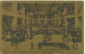 Davenport Hotel Lobby, Spokane, unused Postcard