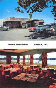 Warsaw IN Petro's Restaurant Old Cars Duo-View Postcard