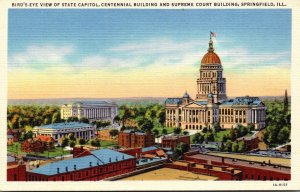 Illinois Sprinfield Birds Eye View Of State Capitol Centennial Building and S...