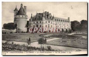Old Postcard Chateau Chenonceau the West Facade view of the Gardens