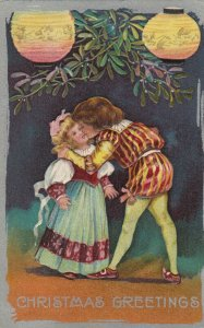 CHRISTMAS, 1900-10s; Greetings, Boy kisses girl under mistletoe, Paper Lantern