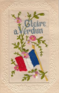 EMBROIDERED, 1900-10s; Gloire a VERDUN , French Flag