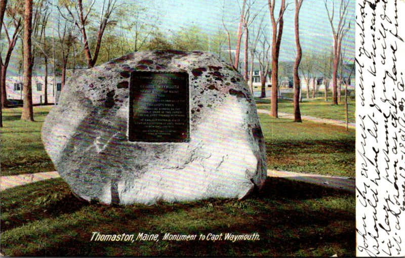Maine Thomaston Captain Waywmouth Monument 1907