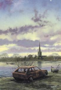 Deserted Burnt Classic Old Car at Cumbria Painting Postcard