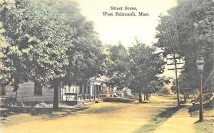 West Falmouth MA Street Scene Storefronts Cape Cod Postcard