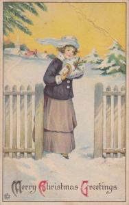 Merry Christmas Greetings, Girl walking outside, windy day, hand muff, sealed...