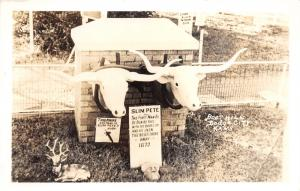 Dodge City Kansas~Boot Hill~Slim Pete Memorial~Oxen Heads~1940s RPPC