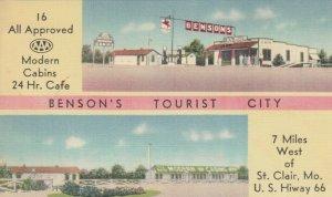 ST. CLAIR, Missouri, 1930-40s; 2-Views, Benson's Tourist City, Hwy. 66