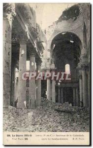 Old Postcard The Arras War Interior of the Cathedral after the bombing Army