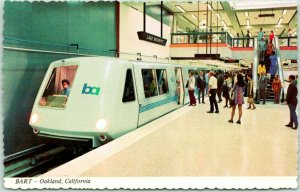 Oakland, California Postcard BART Train Station Scene Subway Railroad c1960s