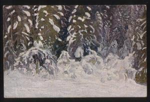 101527 Winter Forest ART NOUVEAU by BORISOV vintage Russian PC